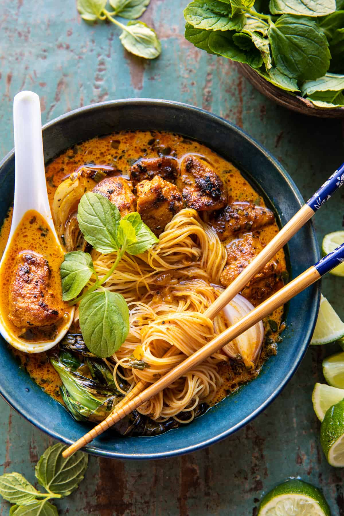 30 Minute Creamy Thai Turmeric Chicken and Noodles.